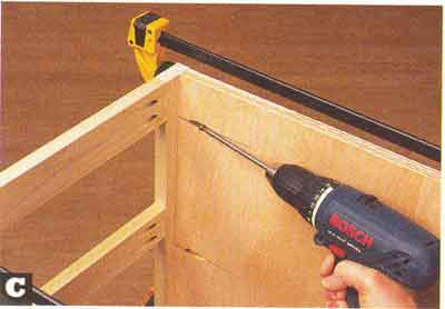 Pocket holes make cabinet construction quick and easy. Use them not only to attach a cabinetu0027s face frame as shown here but also to join sides back ... & Wood 2006-11 Page 26-28